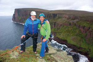 Sir Chris Bonington and Leo Houlding on the summit of the Old Man of Hoy...
